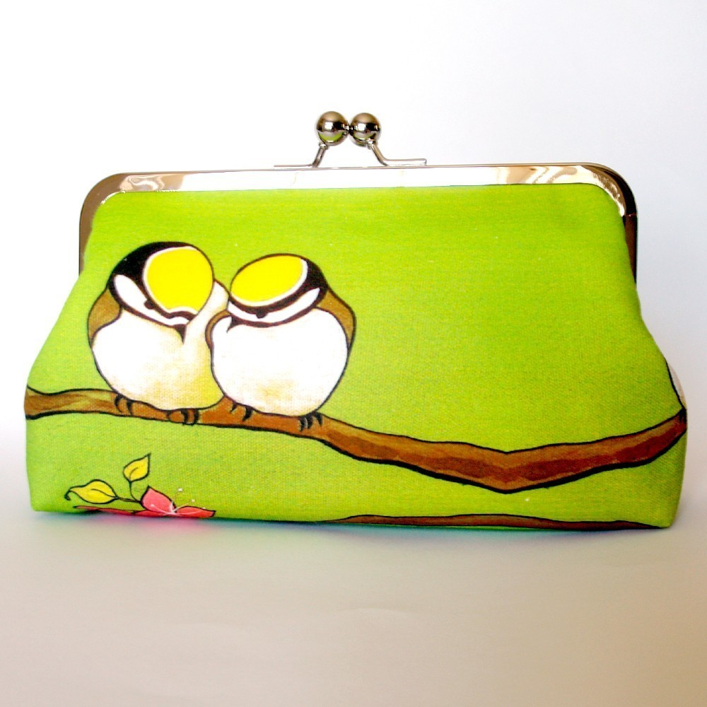 Kisslock Clutch Frame Silk Lined Birds on a Branch
