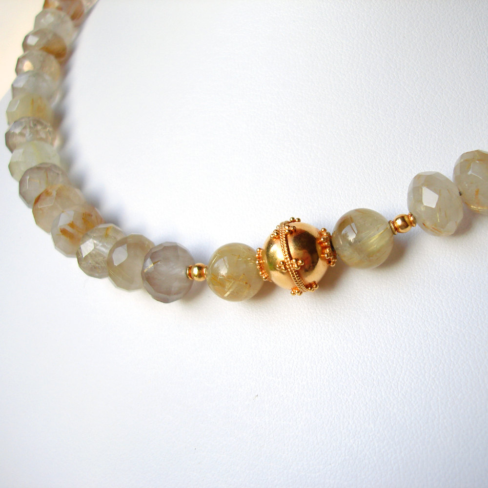 Golden Rutilated Quartz Jewelry Of Gold Rutilated Quartz 20k Solid Gold Necklace On Luulla