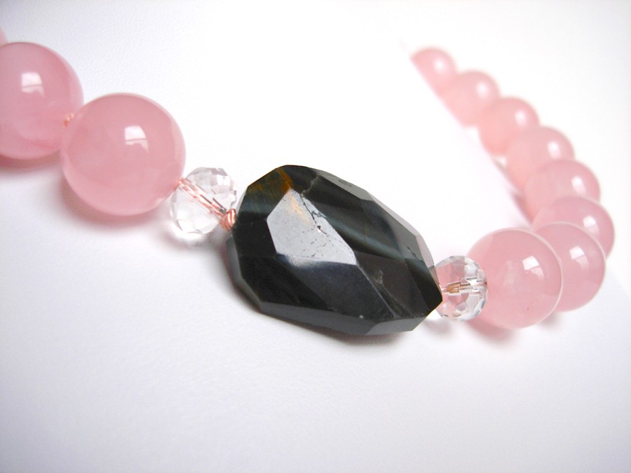 N a n t u c k e t Necklace- Blue Tiger Eye and Rose Quartz on Hand Knotted Silk