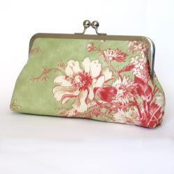 Kisslock Frame Clutch Silk Lined Pink and Green Flowers