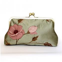 Silk Floral Kisslock Frame Clutch