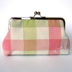 Kisslock Clutch Monogrammed Personalized Silk Frame Handbag Pink and Green Plaid