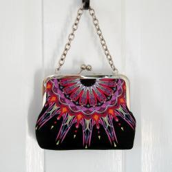 Kisslock Frame Tote Clutch Silk Lined Bright Pink Geometric Medallions