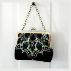 Kisslock Frame Tote Clutch Silk Lined Bright Blue Geometric Medallions