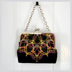 Kisslock Frame Tote Clutch Silk Lined Bright Yellow Orange Geometric Medallions