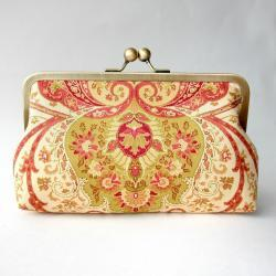 Clutch Frame Kisslock Purse Lined in Silk in a Damask Print