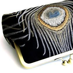 Kisslock Bag Frame Clutch Silk Black Peacock Purse